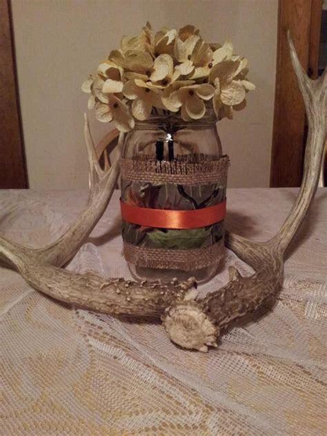 Burlap and mossy oak camo mason jar cover wedding