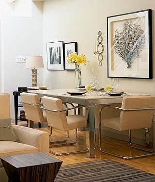 Suzie:  Design Inc!  Sarah Richardson.  Large sea fan framed art!  Modern chrome metal dining ...