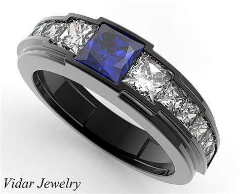 black gold blue sapphire wedding ring   men vidar