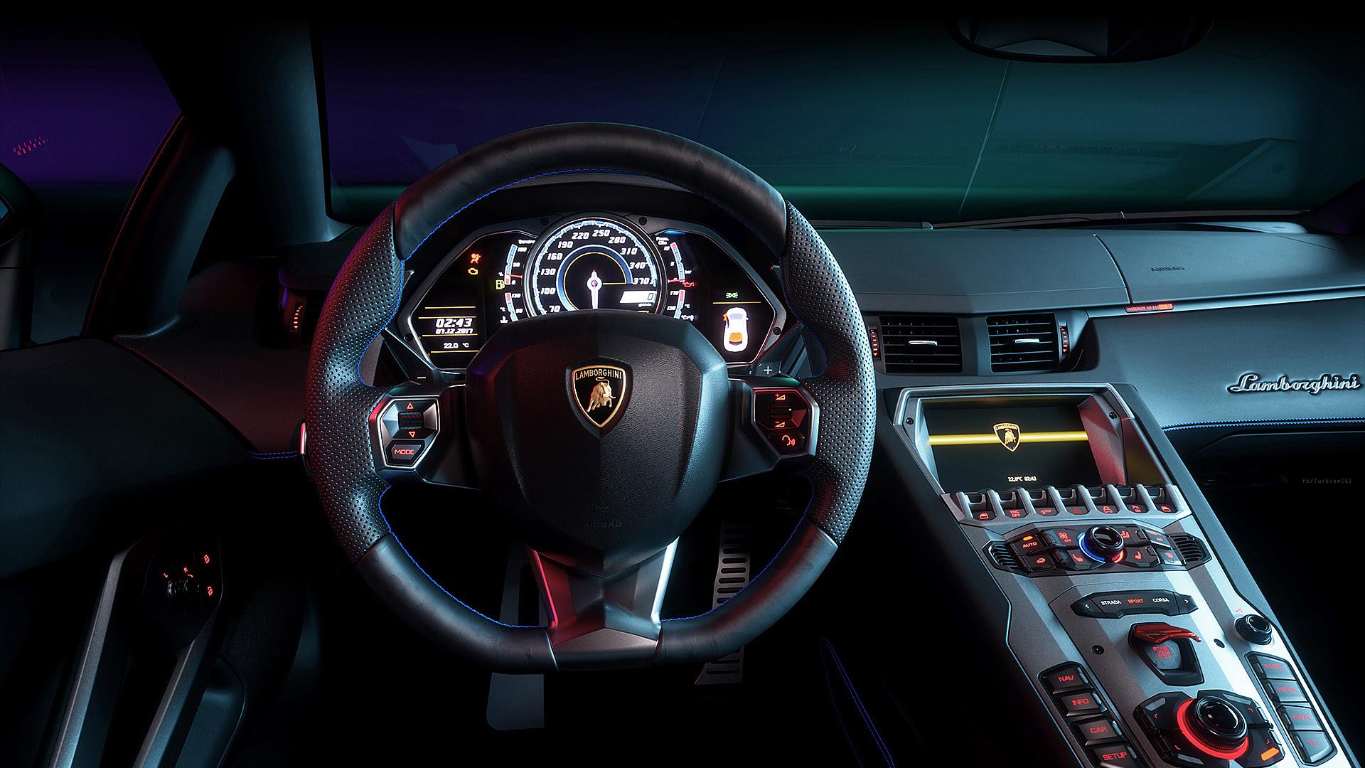 Lamborghini Aventador Interior Cgi Wallpapers Wallpapers Hd