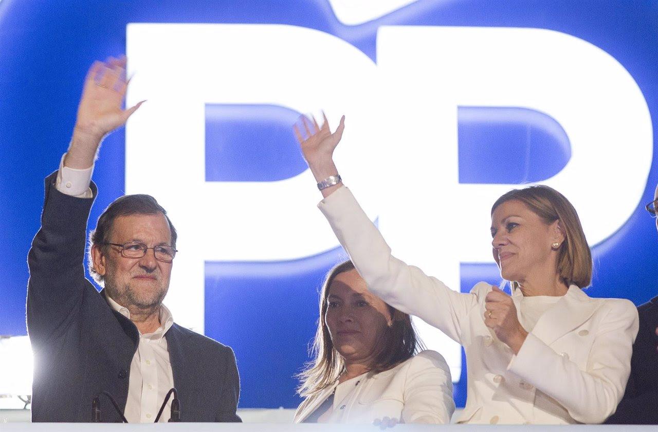 Rajoy en el balcón de Génova