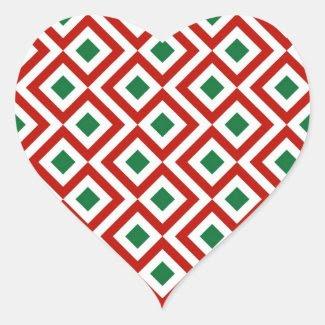 Red, White, Green Meander Heart Sticker