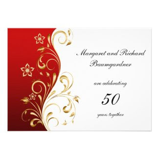 Vintage Red Gold Swirls 50th Wedding Anniversary