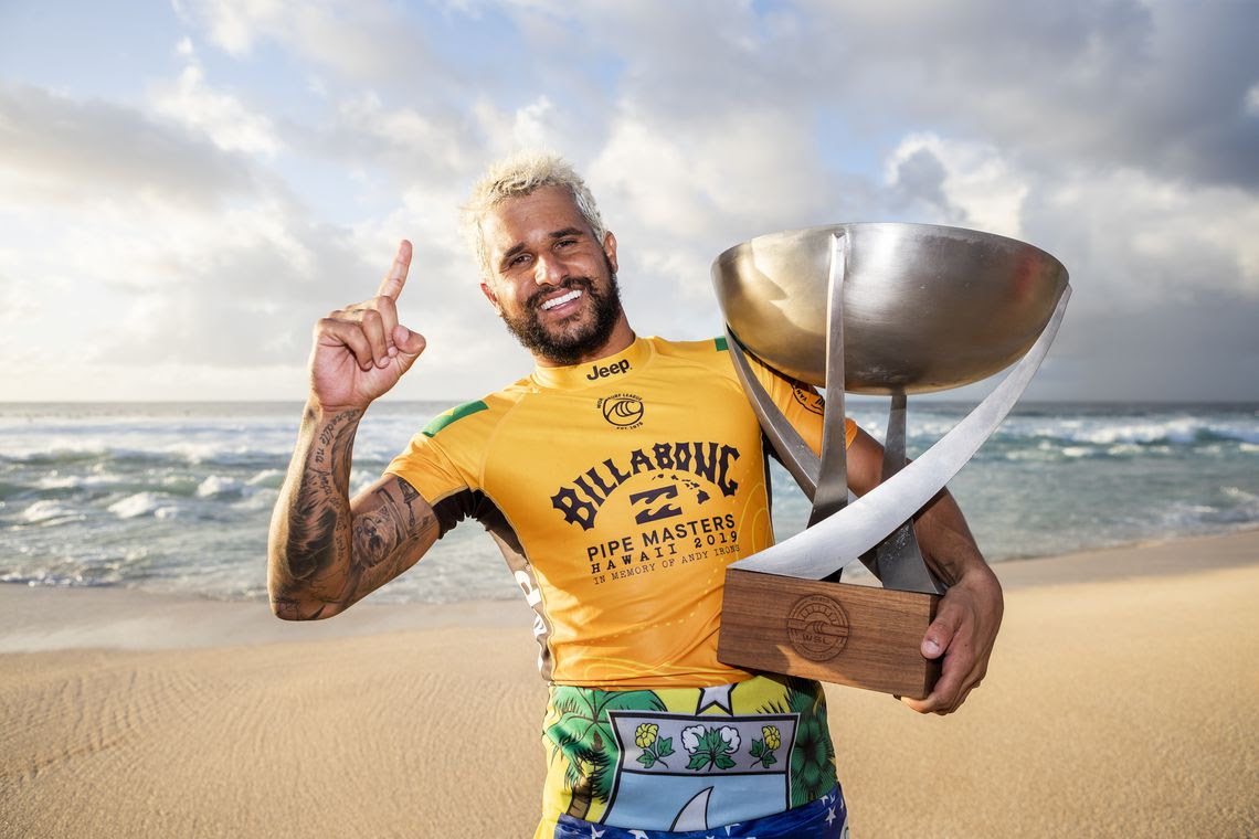 OAHU, UNITED STATES - DECEMBER 19: Italo Ferreira of Brazil winning his maiden WSL World Title at the 2019 Billabong Pipe Masters after winning the final at Pipeline on December 19, 2019 in Oahu, United States. (Photo by Kelly Cestari/WSL via