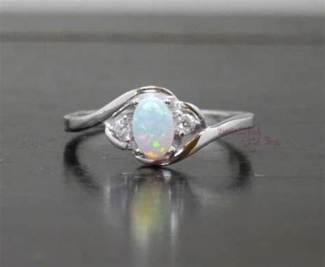 White Opal Ring, Silver Lab Opal Ring, Opal Wedding Band