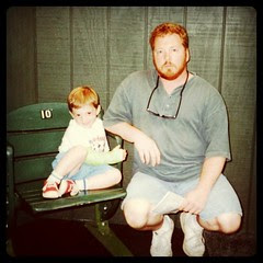 Me at thirty-two with my son. He fractured his wrist at Skydome, but that did't stop me from dragging him around the country to the Baseball Hall of Fame. by ObieVIP