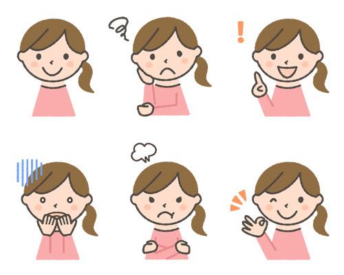 若い女性の表情イラスト6種 可愛い無料イラスト人物素材 フリーラ
