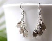 Teardrop Chandelier Earrings with Smoky Gray Glass Teardrops on Hypo-Allergenic, Nickel-Free Ear-Wires