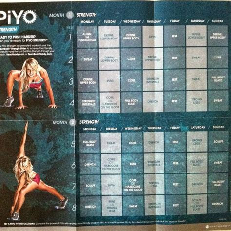 piyo home workout review work  workout calendar