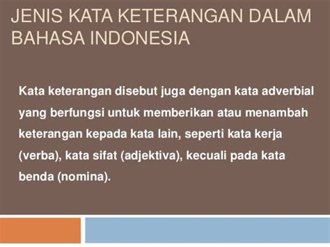 jenis kata keterangan  bahasa indonesia