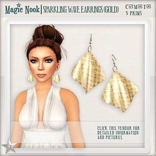 [MAGIC NOOK] Sparkling Wave Earrings (Gold)
