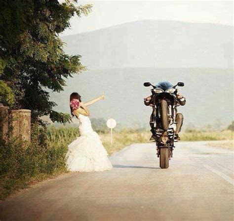runaway bride motorcycle wedding wedding dress bride