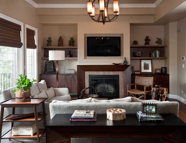Decorating Your Living Room With Brown Fireplace Interior
