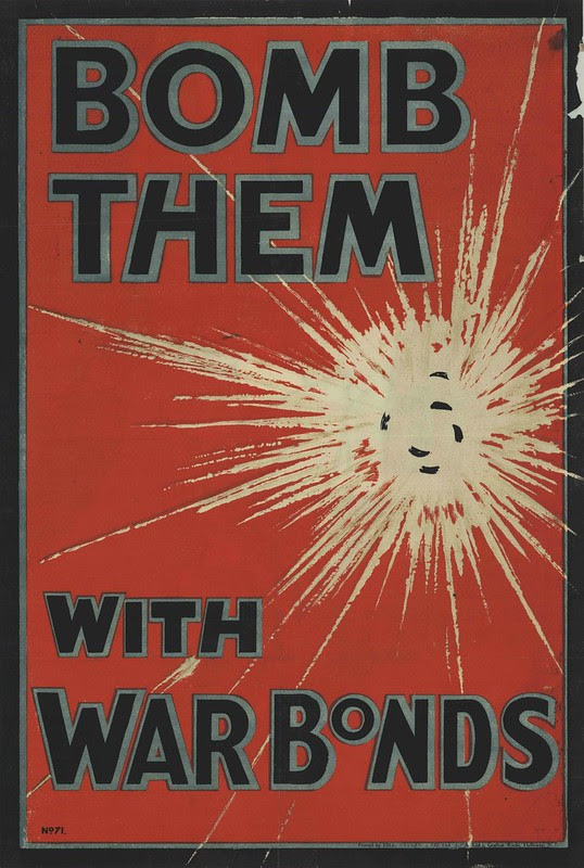 red background propaganda print with comic-style explosion taking up most of poster space