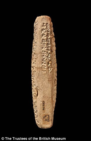 The clay tablet, which measures 4.6 inches (11cm) tall, two inches (5cm) wide and one inch (2.6cm) thick, dates from 1,750 BC
