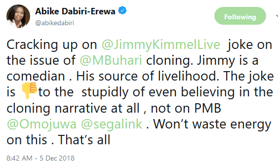 Abike Dabiri Arewa reacts to US TV host, Jimmy Kimmel's joke on Buhari's alleged cloning
