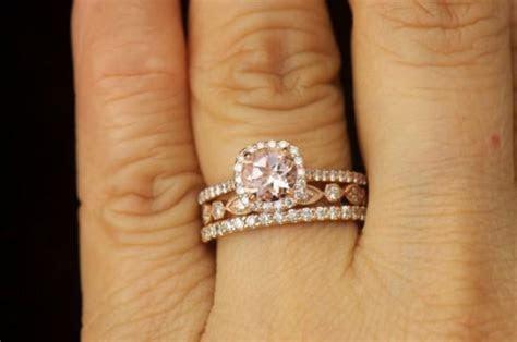 Matching Ring Set   Kylie B, Morganite And Diamond Halo