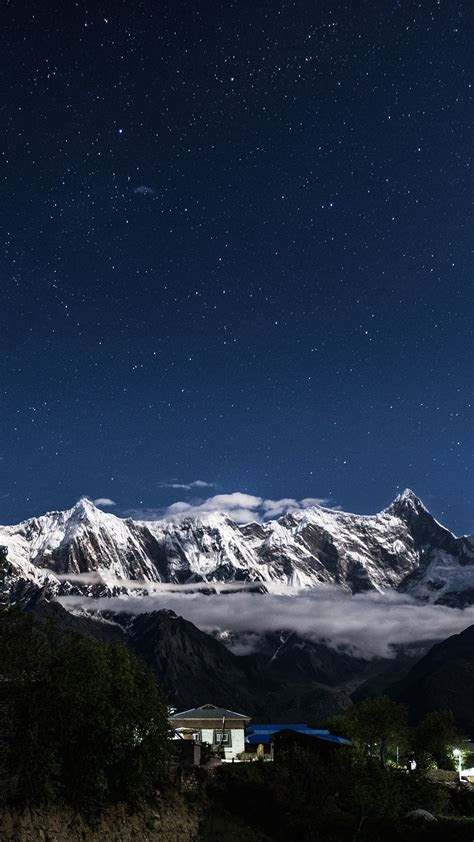 night mountain blue sky space star android wallpaper