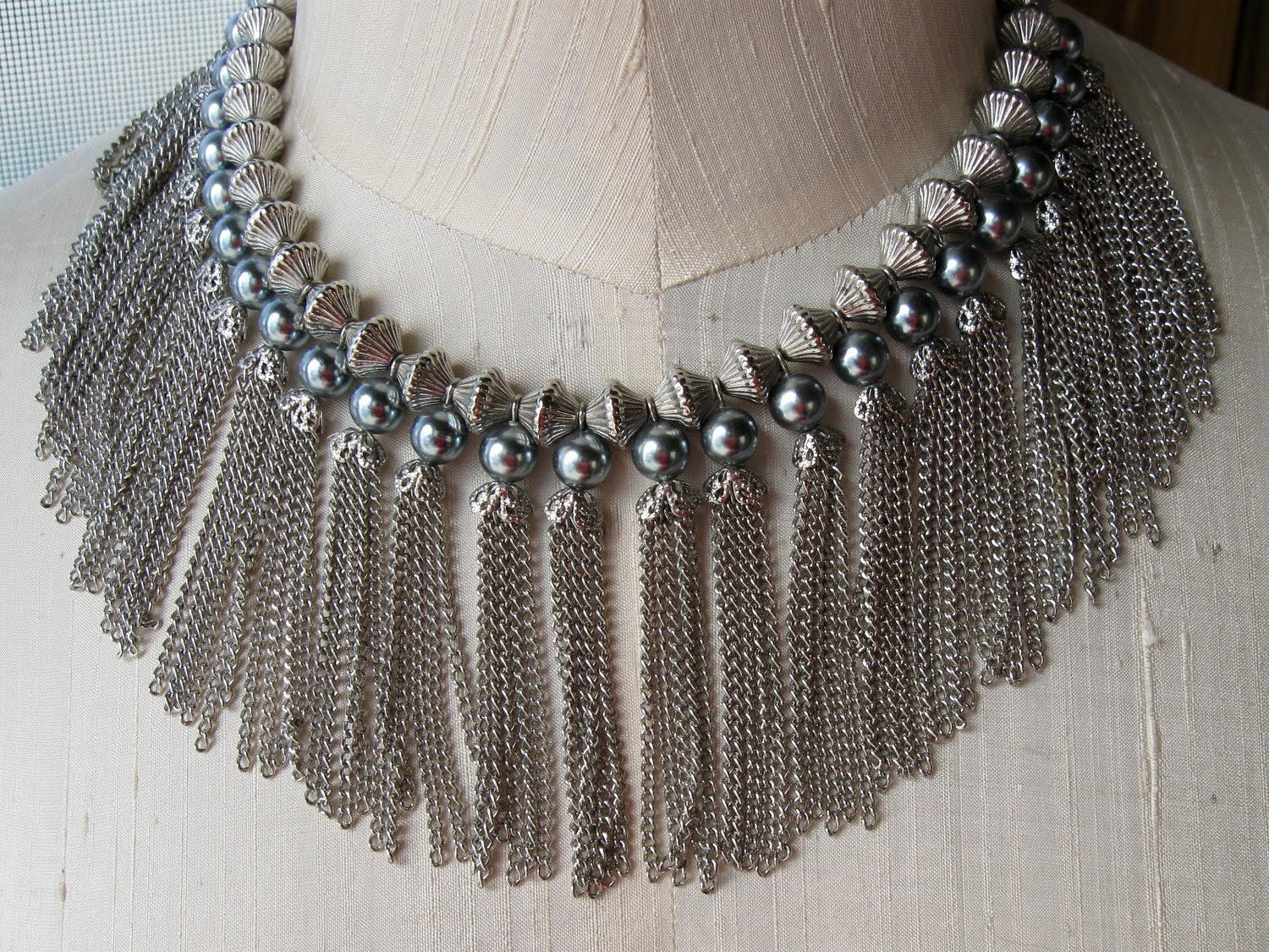 Stunning Vintage Tassel Necklace Long Chains of Silver from Steel Grey Beads and Caps