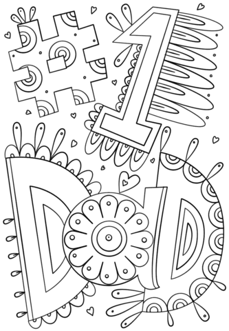 1 dad doodle coloring page  free printable coloring pages