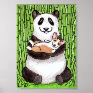Lauren M. Davis Panda & Pembroke Welsh Dog Art Print