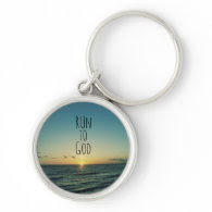 Inspirational Christian Quote Run to God Keychain