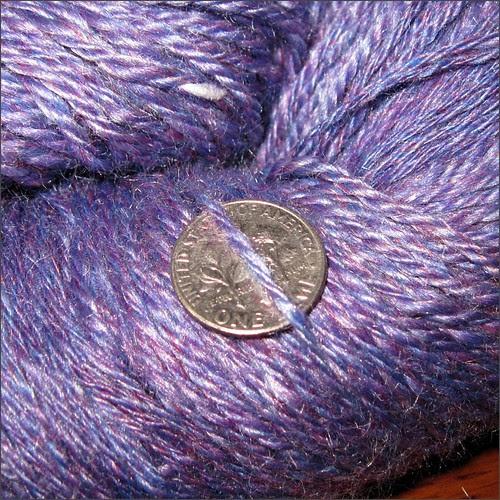Purple Merino-silk yarn, close up