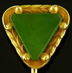 Hans Brassler jade triangle stickpin. (J9441)