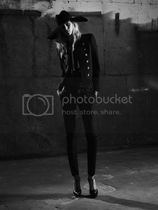 YSL SAINT LAURENT PARIS SS SPRING SUMMER 2013 Julia Nobis Hedi Slimane AD CAMPAIGN LOOKBOOK DARK MOODY LARGE BRIMMED HAT EMBELLISHED JACKET BOLERO TUXEDO JACKET LONG PENDANT NECKLACE LACE SKINNY BLACK PANTS STRAP PUMPS HEELS PUSSY BOWS SEQUINS LEATHER MOTO JACKET RUFFLE SHIRT T STRAP PUMPS HEELS SUNGLASSES SKINNY BELT 5