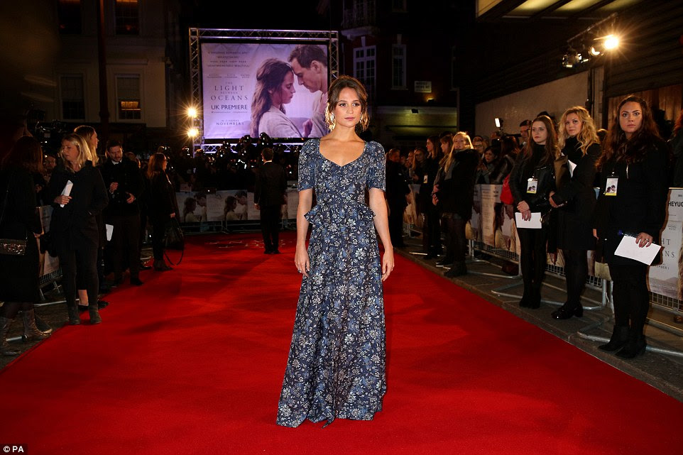 Strutting her stuff: The Swedish beauty looked a vision as she took a walk down the red carpet without Michael