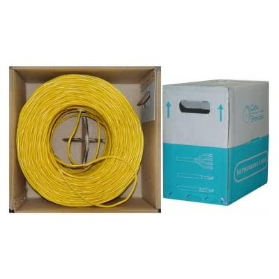 CAT6, UTP, Bulk Cable, Solid, 500MHz, 24 AWG, Yellow, 1000 ft