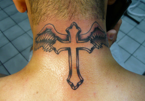 Awful Winged Cross Back Neck Tattoo