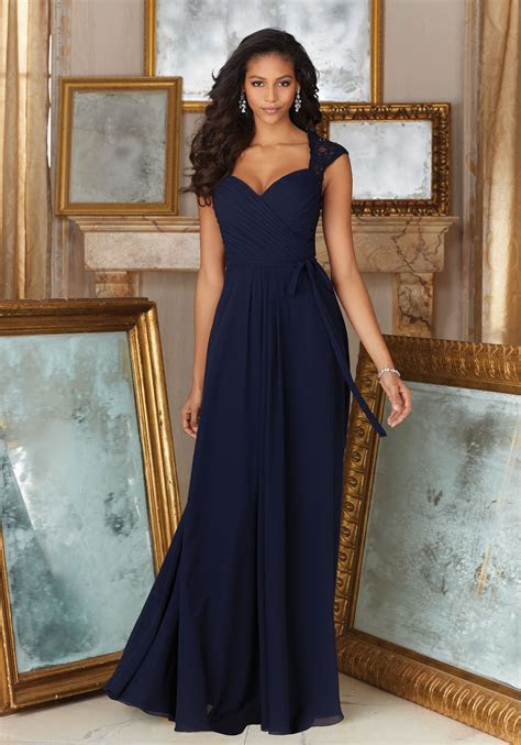 Beaded Lace and Chiffon Material Bridesmaid Dress   Style