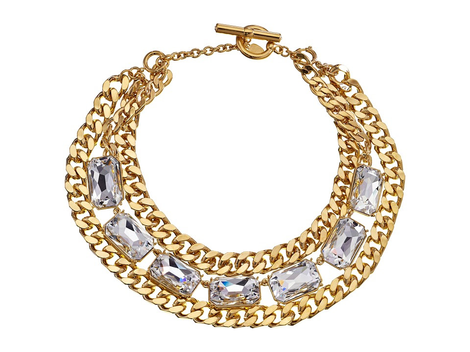 LAUREN Ralph Lauren - Off The Runway 16 - 19 Large Chain and Large Faceted Stones w/ Ring and Toggle 2-in-1 Necklace (Gold/Crystal) Necklace