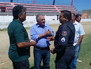 Estádio Marizão, em Caicó - RN - vistoria - Polícia Militar - Bombeiros (Foto: Eduardo Dantas)