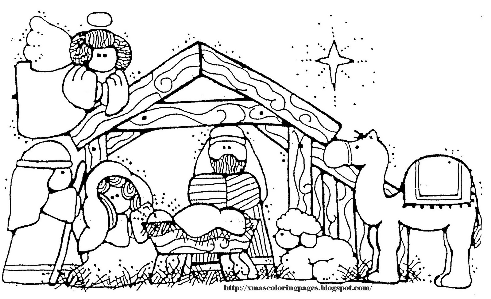 Nativity Coloring Pages For Kids Drawing With Crayons