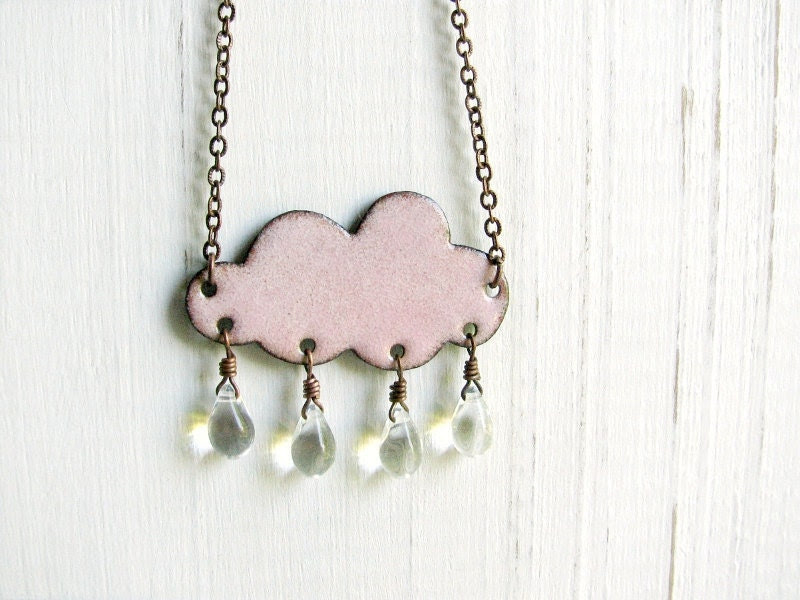 Handmade Pink Cloud Necklace - Enamel On Copper, Glass Raindrops - happyment