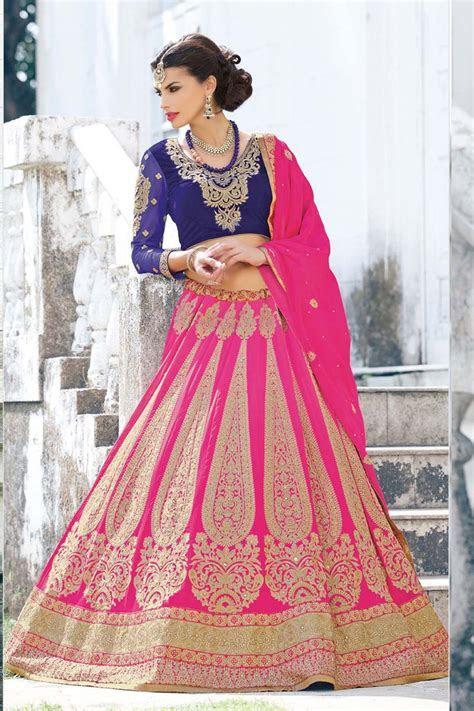 Buy Variation Pink Georgette Bridal Lehenga Choli online