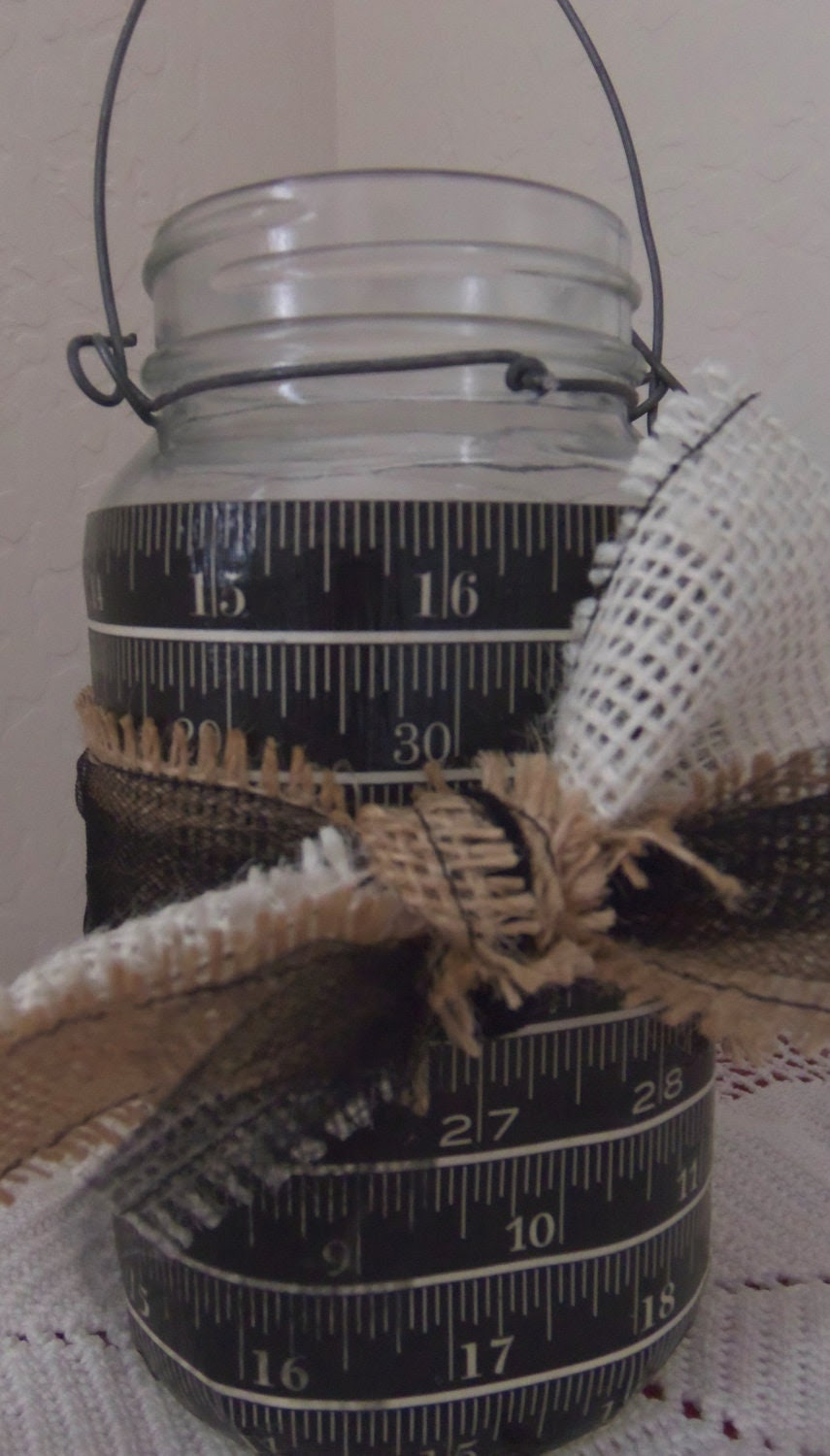 SALE Hanging Mason Jar Measuring Tape by picadillymarket on Etsy