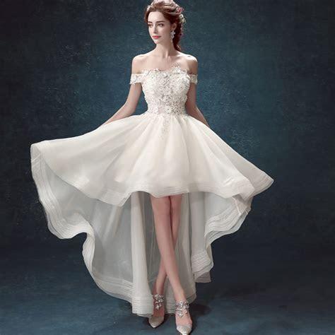 Elegant White Wedding Dresses Sexy short Bridal Gowns Boat