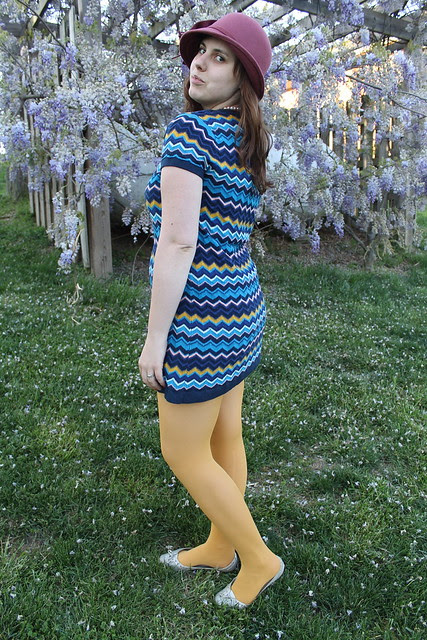 Easter outfit: SIlver flats, mustard tights, Missoni for Target chevron dress, dusty rose felt cloche