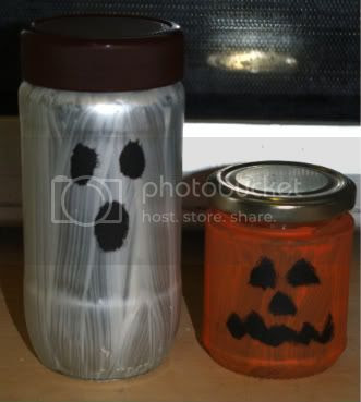Ghost & jackolantern candle crafts Halloween 2010