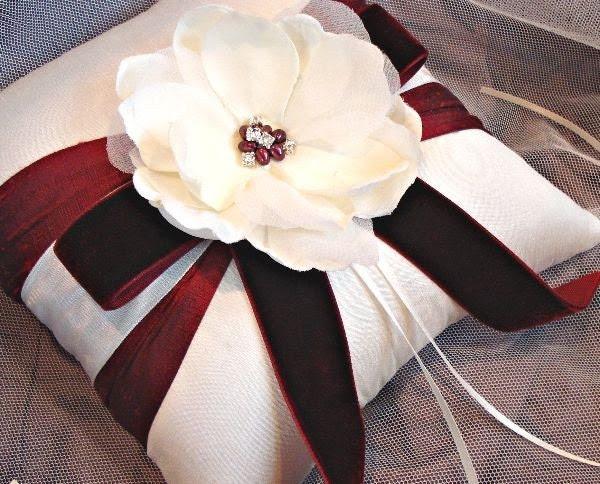 Burgundy Magnolia Garden Ring Bearer Pillow