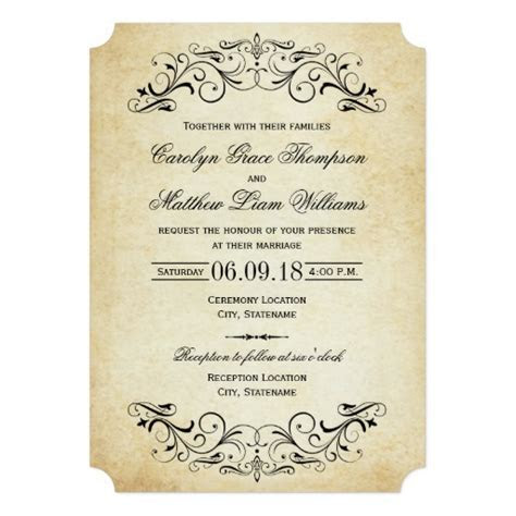 Vintage Wedding Invitations   Elegant Flourish Invitation Card