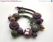 CIJ 10% off - Handmade crochet necklaces (2 in 1), green purple, OOAK - rRradionica