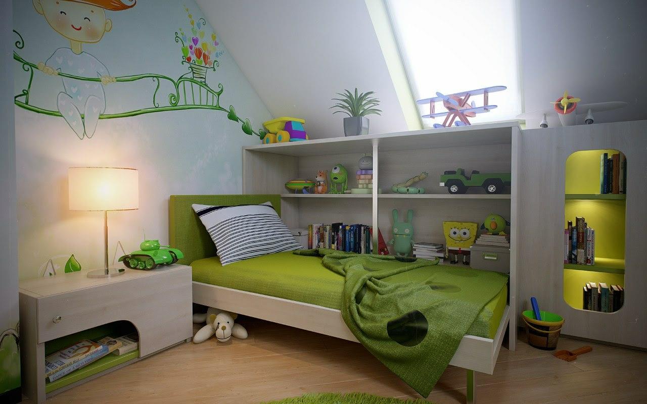 Green white boys room wall mural   Interior Design Ideas.