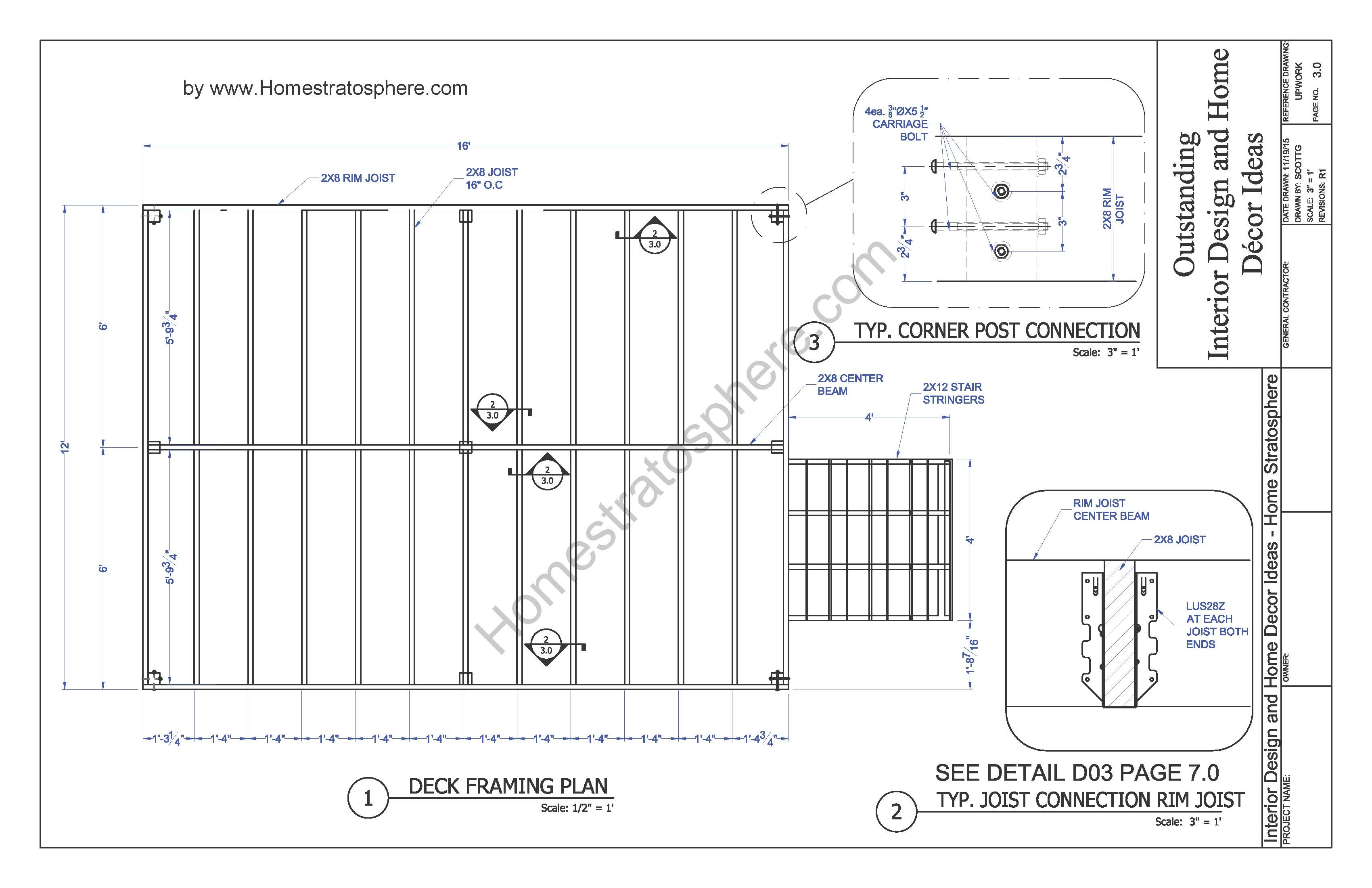 Free 12 X 16 Deck Plan Blueprint With Pdf Document Download