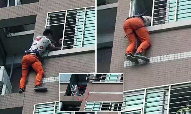 Chinese woman's lover escapes husband through window to spend night on a ledge
