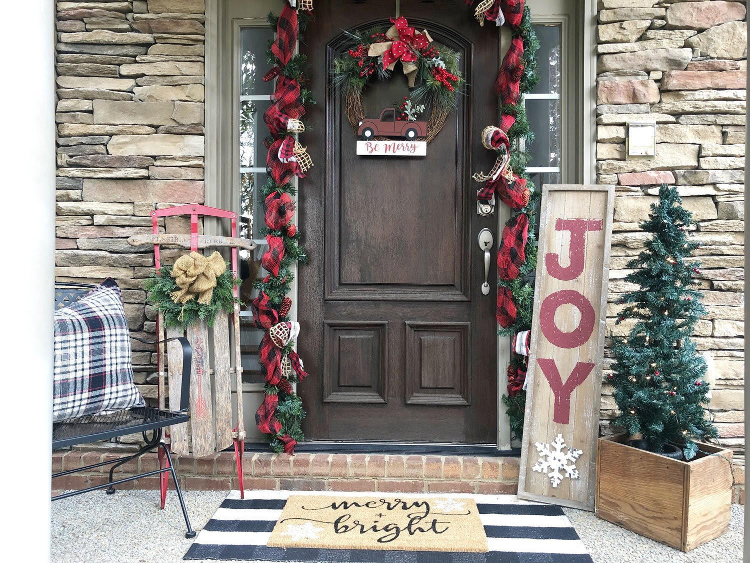Christmas Front Door Decorating by Wilshire Collections — Half Full