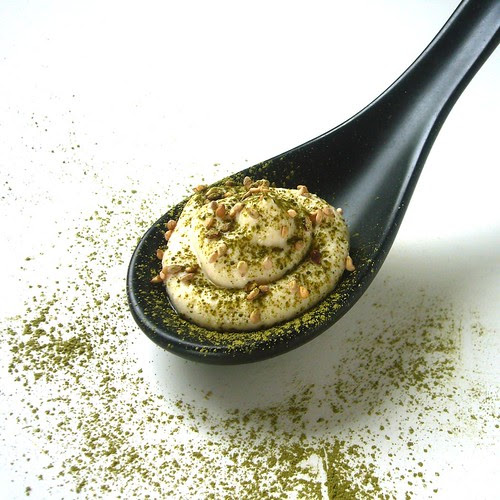 Fresh Tofu mousse with sesame seed and Matcha powder